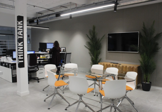 Conference room created following removal of an external column and wall