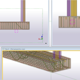 Rebar was modelled in Tekla Structures to aid the modelling of new rebars